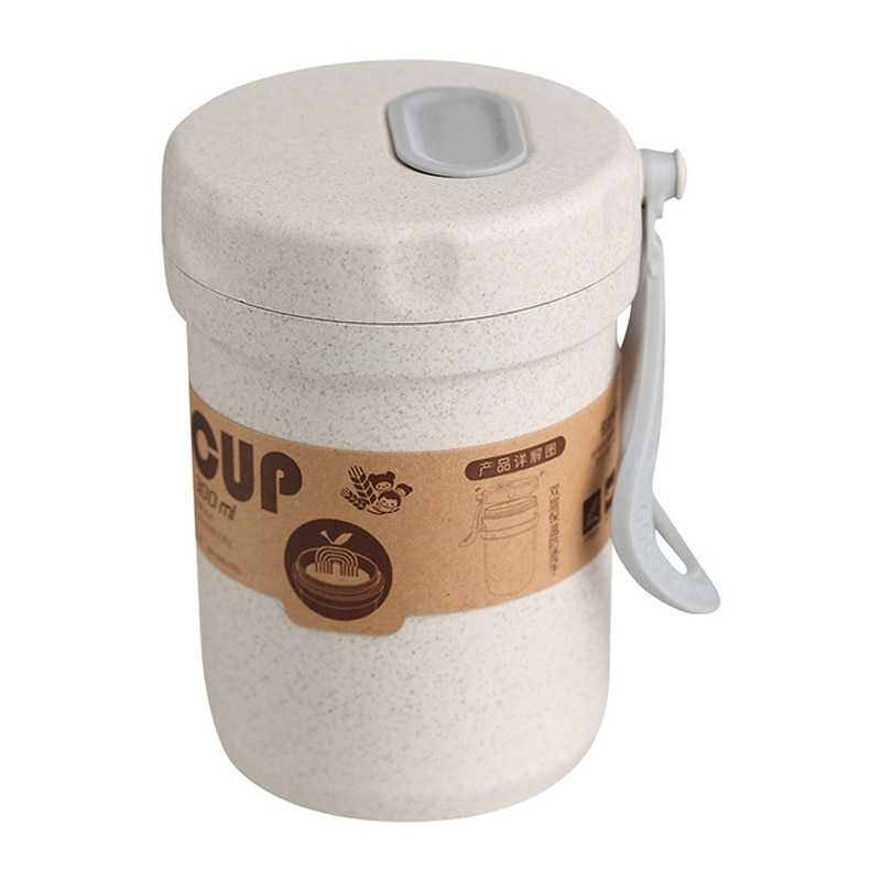 Creative Wheat paja desayuno bebida gachas taza portátil transpirable sellado latas de sopa para trabajar sopa taza almuerzo caja Mi