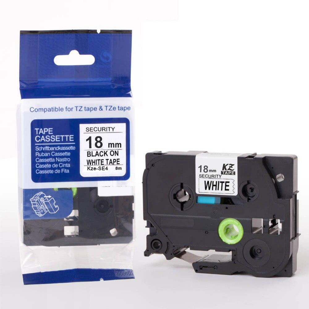 1Pc tze-se4, negro sobre blanco, 18mm * 8m cintas de seguridad tz-se4 tz se4 tzse4 tzese4 hermano PT200 PT-H100 PT-H110 impresoras de etiquetas