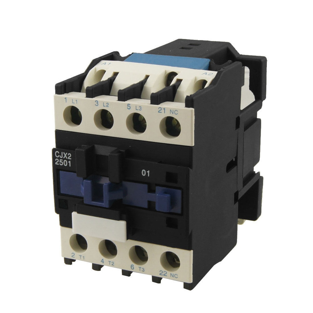 CJX2-2501 AC Contactor de Motor de 3 fase 25A 3 polos 1 NC 24VAC 36V 110V 220V voltios Motor Contactos magnéticos para carril Din de 35mm