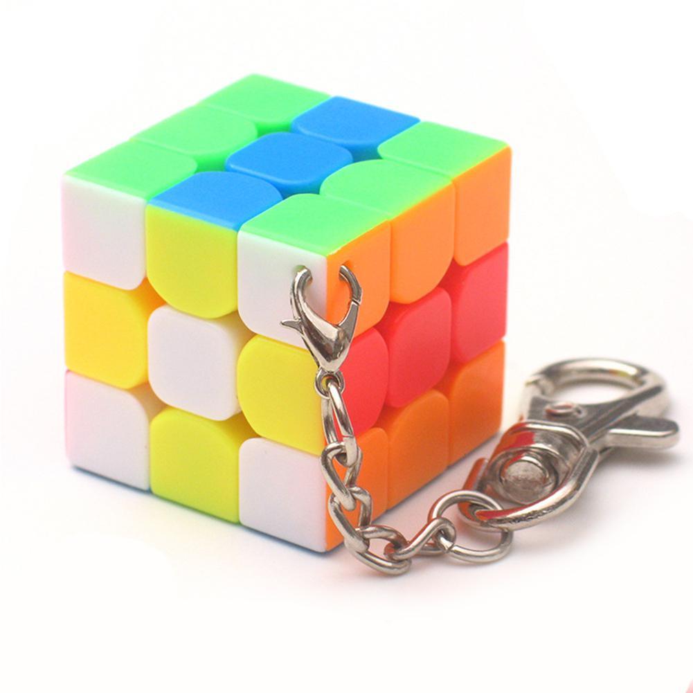 Хоббилан 3 см мини маленький 3x3x3 волшебный куб брелок Портативный Умный куб игрушка и креативное украшение с кольцом для ключей