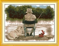 fishing man and his dog printed canvas dmc counted chinese cross stitch kits printed cross stitch set embroidery needlework