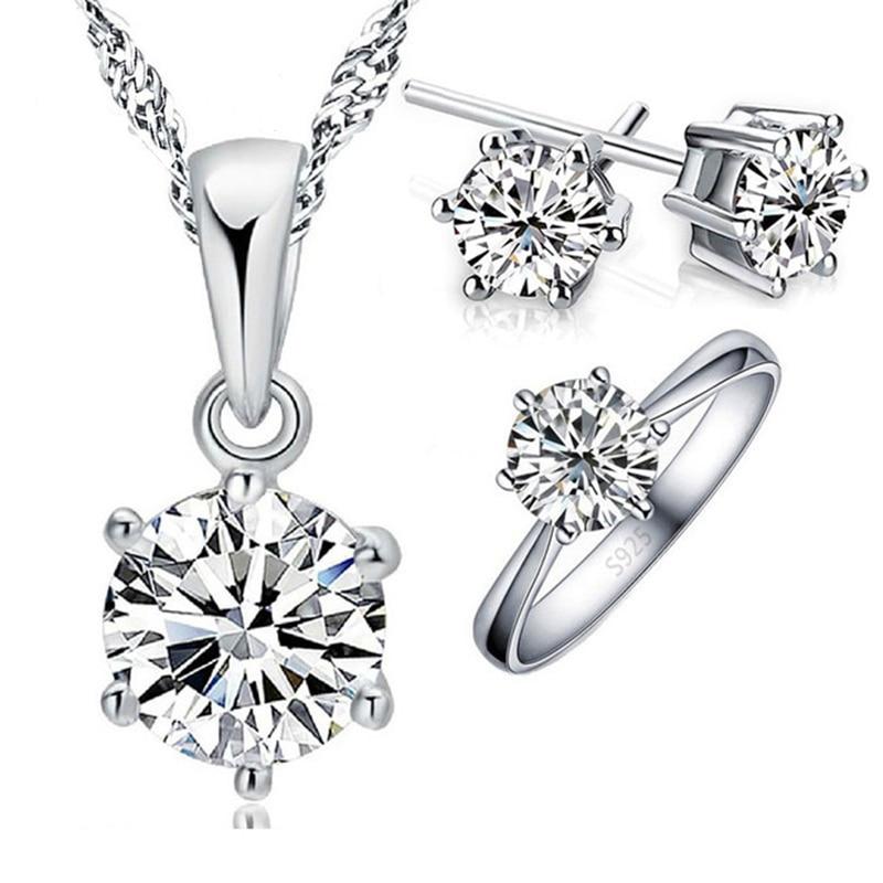Trendy Hot Sale Women Wedding Jewelry Sets Pendant Necklace Earrings Sets Full Size Ring 925 Serling Silver Best Jewellery