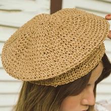 Chapeau de soleil en raphia pour femmes   Nouveau chapeau de soleil, en raphia, Beige décontracté, élégant dames, béret chapeau Style français, mode printemps, Vintage peintres
