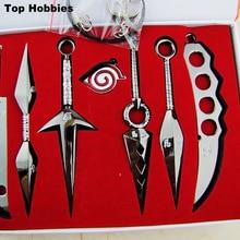 Anime Naruto lame porte-clés Kunai épée Shuriken couteau pendentif Cosplay accessoire 7 pièces/ensemble armes de lancer naruto épée couteau noir