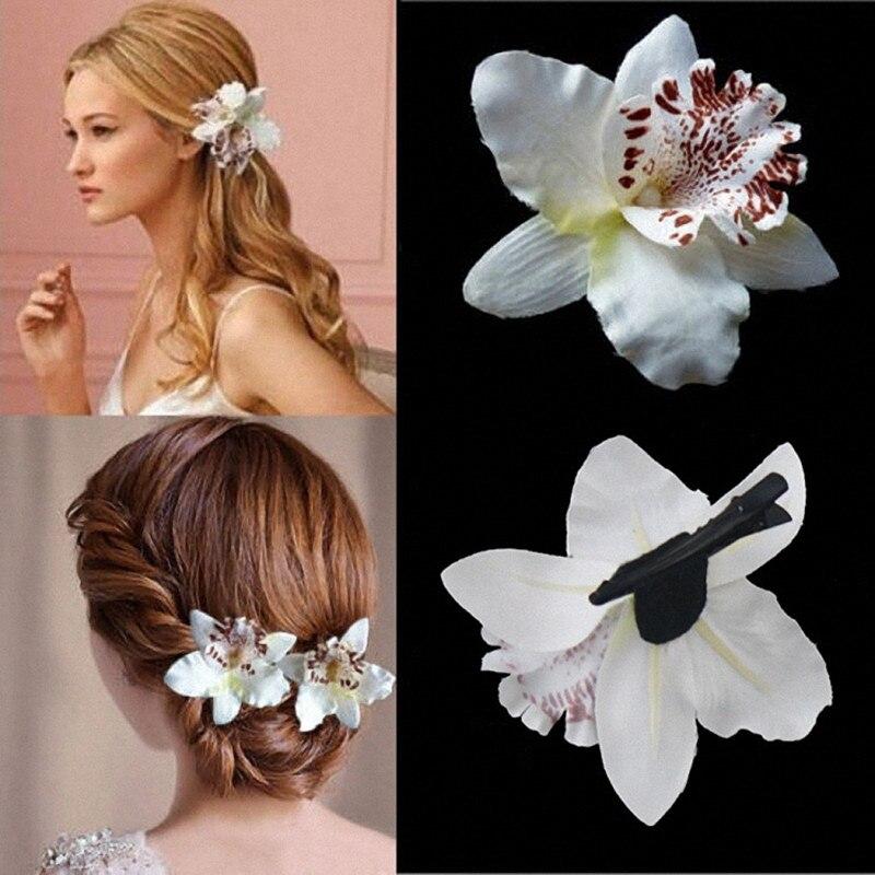 Бесплатная женская летняя богемная пляжная тайская Лилия Орхидея цветок заколка для волос для невесты свадебные головные уборы праздничные аксессуары для украшения волос