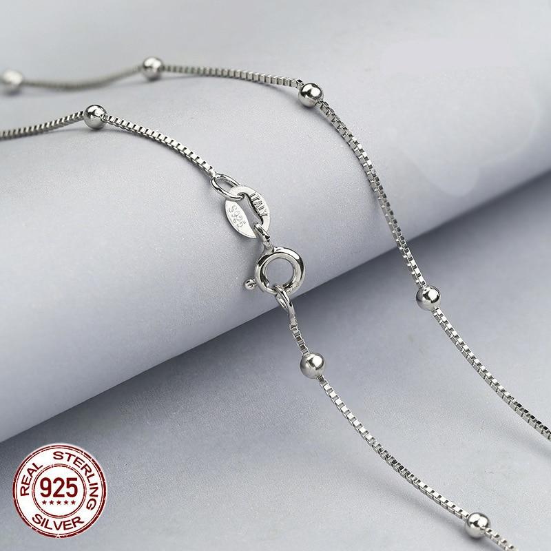 100% real pure 925 prata esterlina caixa corrente com bolas colares para mulher, 925 prata esterlina/ouro feminino corrente colar
