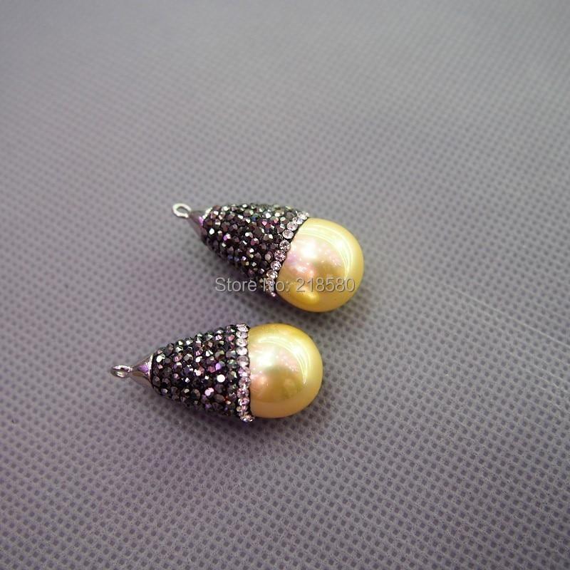 MU150907854 pavé CZ claro y Gunblack strass Shell perla encanto colgante blanco perla lágrima colgante