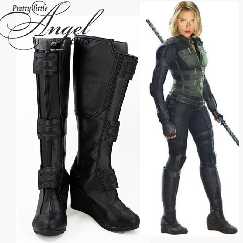 Marvel Super Hero Avengers Infinito Guerra Natasha Romanoff Viúva Negra Sapatos de Festa Cosplay Custom Made