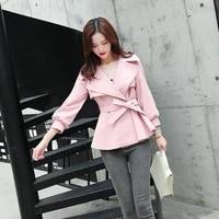 fashion windbreaker female short paragraph spring and autumn new belt casual suit lapel temperament commuter slim spring coat