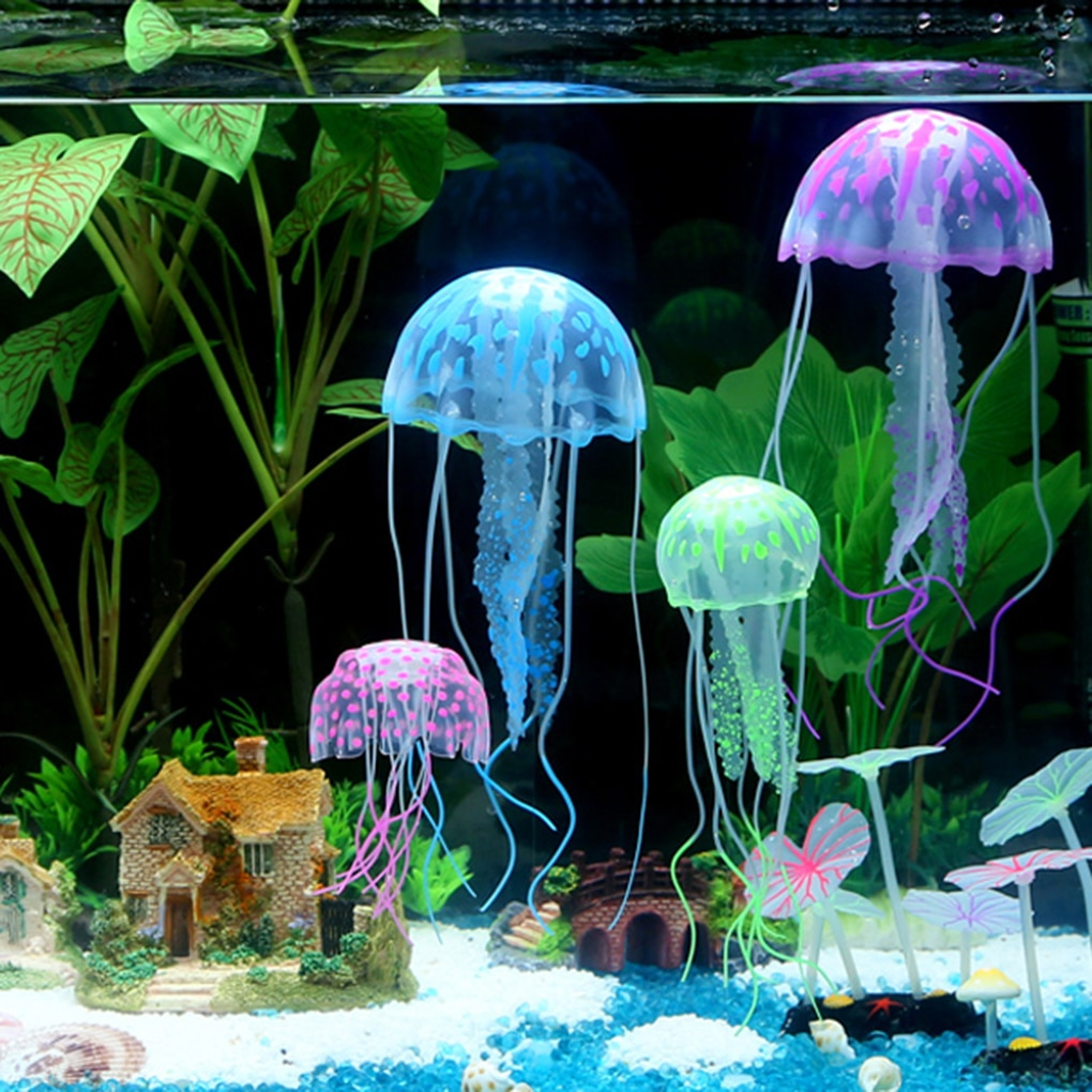2018 Novo Glowing Effect Artificial Jellyfish Fish Tank Ornamento Do Aquário Decoração Mini Submarino
