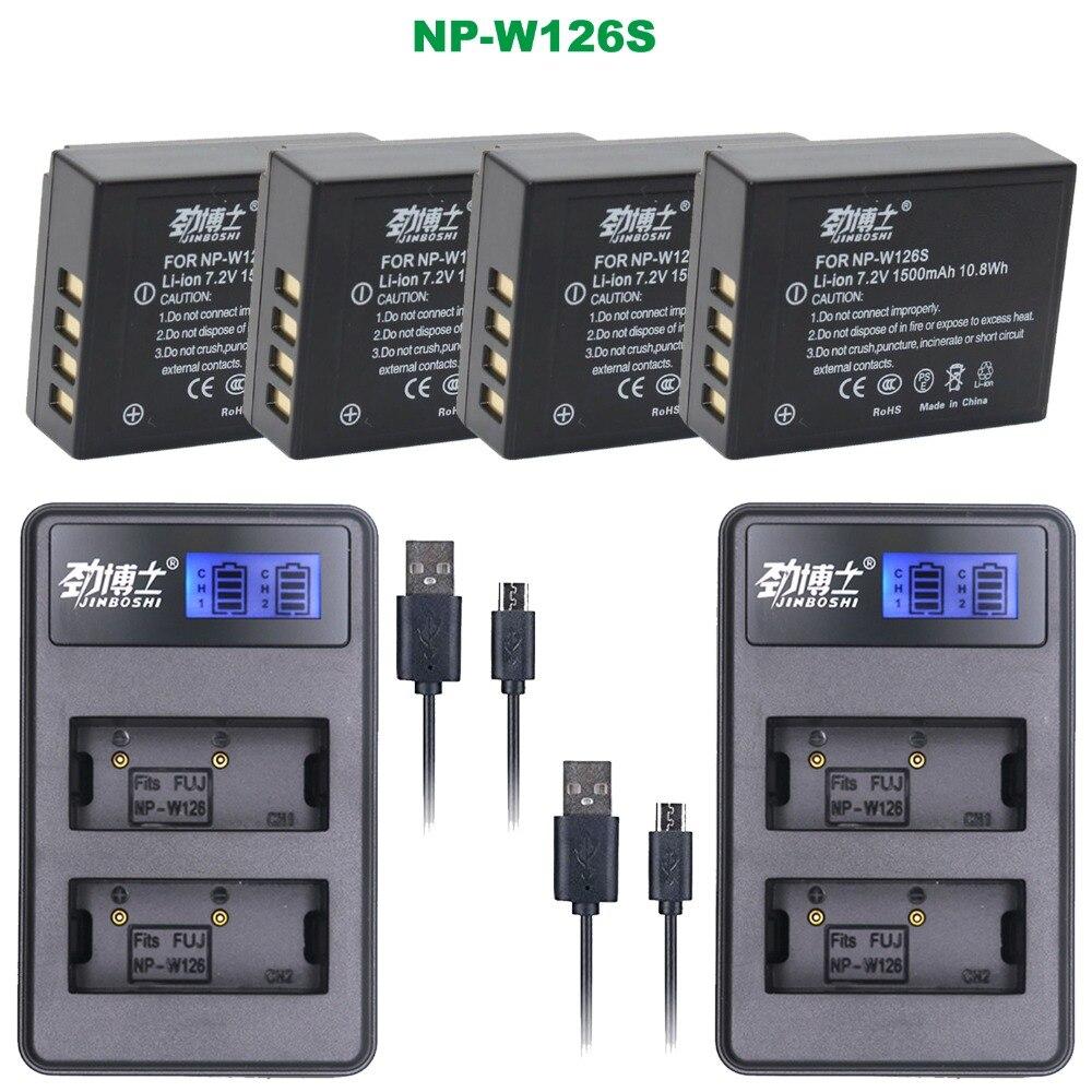 4 pçs NP-W126S np w126s bateria + 2pcs lcd carregador usb para fujifilm fuji X-T2 X-A3 xt2 xa3 X-T20 npw126s NP-W126 bateria