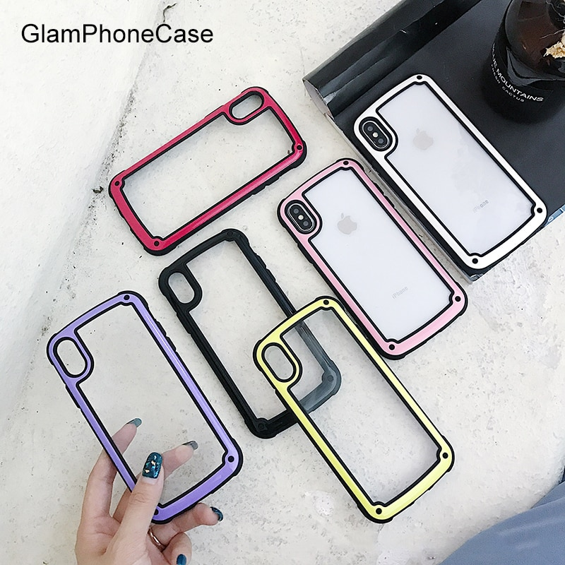 Funda de teléfono GlamPhoneCase de Color sólido Simple a prueba de caídas para iPhone XS Max XR XS 8 8plus 7 7plus 6/6S Plus, elegante funda trasera dura