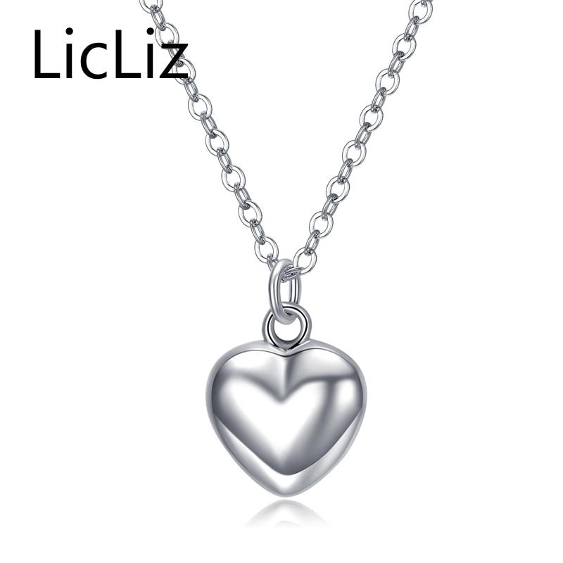 Collar con colgante de corazón de plata esterlina 925 de LicLiz, cadena de eslabones largos, joyería Vintage de boda para mujer LN0190