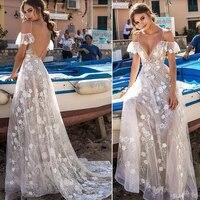 smileven beach wedding dress spaghetti straps 2019 backless lace bride dress sexy v neck lace appliques boho long bridal gown