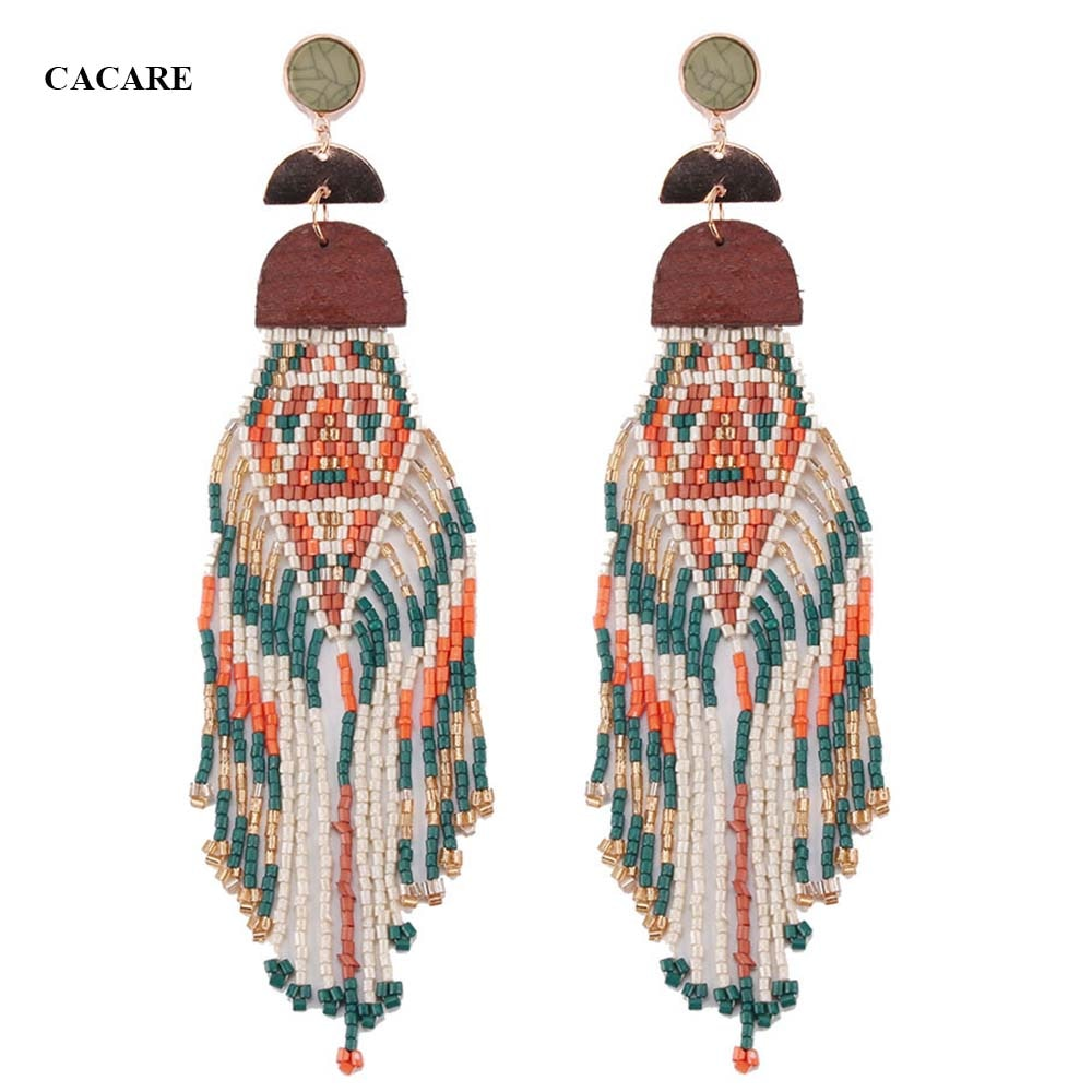 Fashion Big Earings Women 2018 CHEAP Ethnic Tassel Drop Earing F1030 Carey Earrings Bohemia Statement with Beads