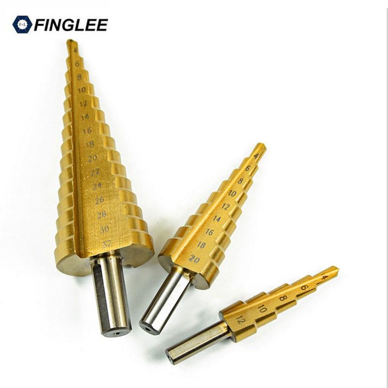 FINGLEE 4-12/20/32mm Titanium Coated Hss Step Cone Drill Bits Bit Set 2 Fluted Edges Step Drill Bit Reamer