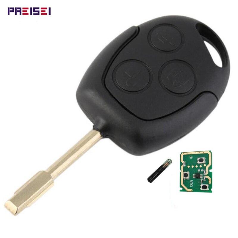 Preisei preto 3 botões chave remota do carro para ford mondeo com 4d60 chip de vidro 433 mhz