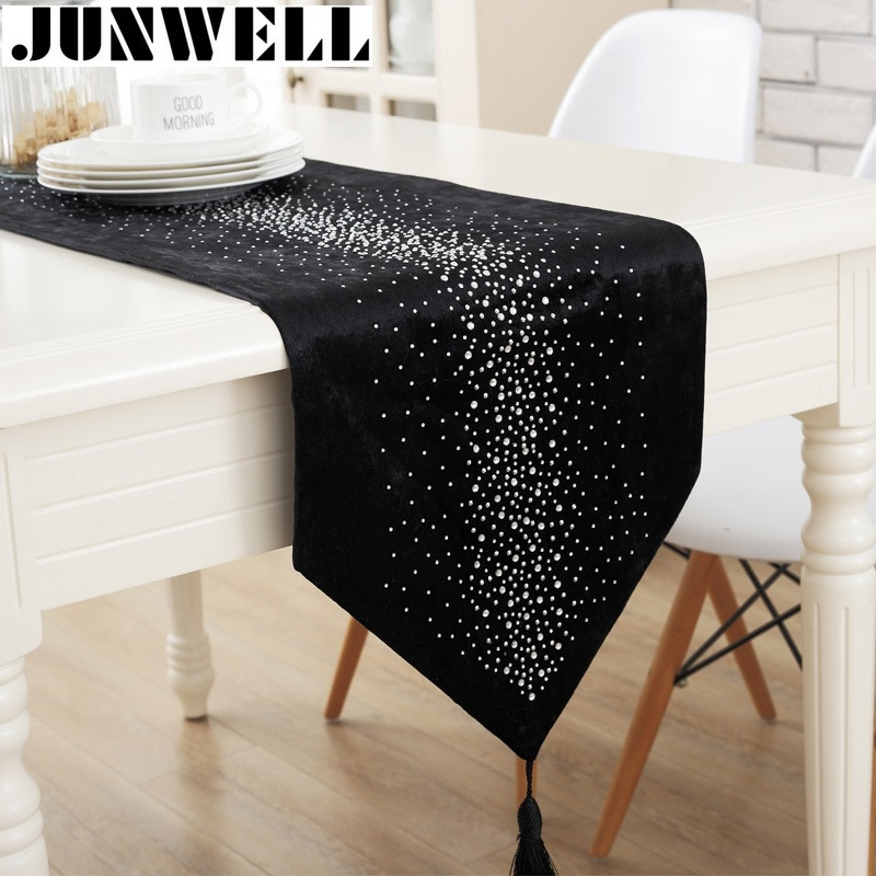 Junwell moda moderna corredor de la tabla de planchar de 2 capas de corredor de tela de mesa con borlas calado de corredor de la tabla de