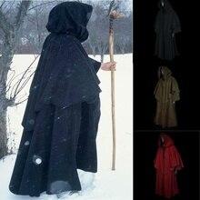 Vintage unisexe hommes et femmes médiévale Cape à manches longues surdimensionné capuche Robe noir Renaissance gn manteau Cape sorcière sorcier fantaisie