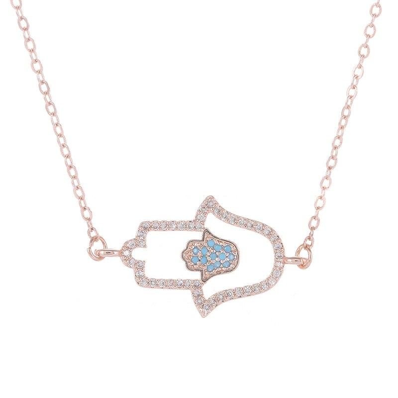 Collar erkek kolye de colgante de mano de Hamsa hueco para mujeres, Collares Vintage de oro rosa, cadena de mano de colgantes de Fatima