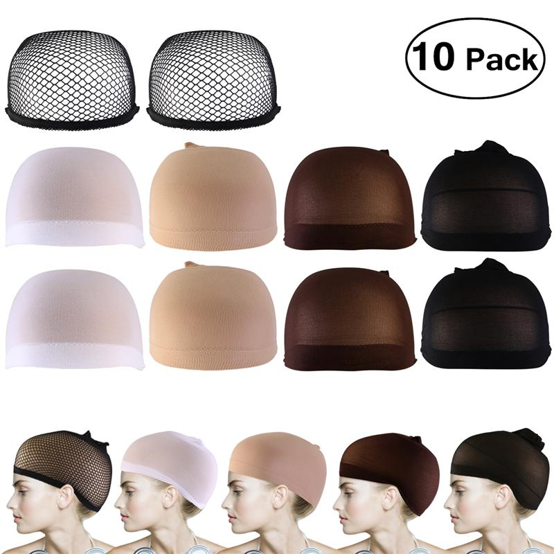 10 pces peruca tampões neutro nude branco marrom e preto malha peruca boné