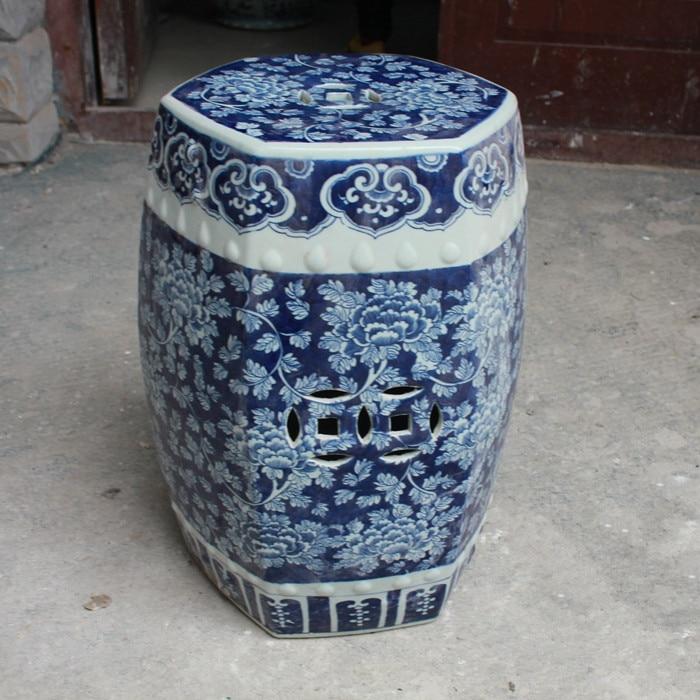 Antique Stool For Dressing Table Stool Chinese Porcelain Garden Stool Ceramic jingdezhen Blue And White Dragon stool for garden