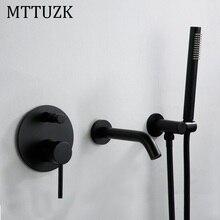 Grifos de bañera de Oro pulido de latón MTTUZK con pulverizadores, mezclador frío caliente, juego de grifería Rosa montada en pared dorada, grifos de ducha de baño