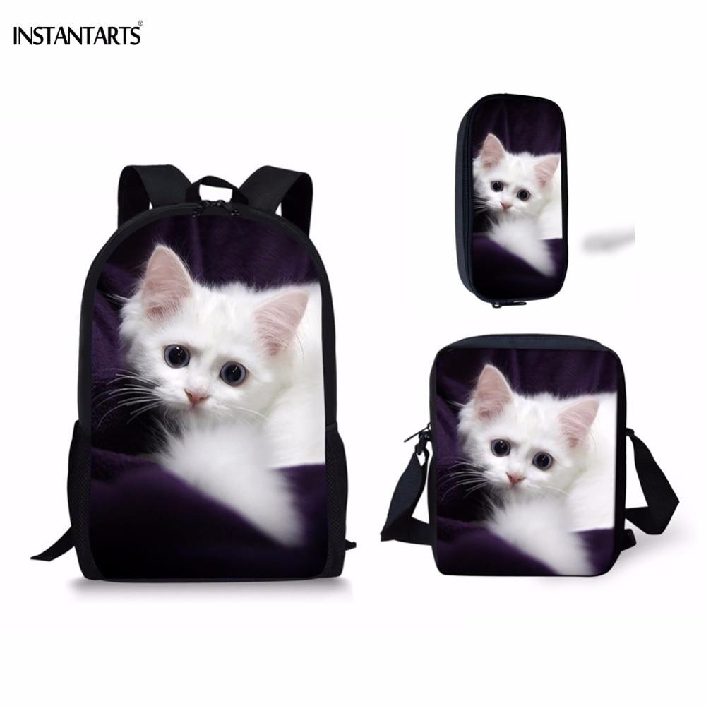Mochilas instantáneas 3D con gato blanco/impresión del gatito 3 uds. Para estudiantes de primaria, mochilas escolares informales para niños y niñas