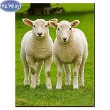 KUFWKEY 5d puzzle   Paire de broderie et de broderie, en résine, diamant, double mouton, cristal, point de croix, mosaïque, 3D, broderie sur agneaux