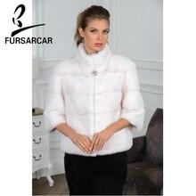 FURSARCAR 2020 luxueux naturel vison fourrure veste courte mince manteau de fourrure femmes automne hiver vison manteau de fourrure pour la fête