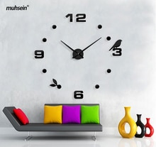 Muhsein Factory 2020 New Modern DIY Black Cat Bird Quartz Wall Clock  Home Decor Orologio Muro Livingroom Creative Watch Wall