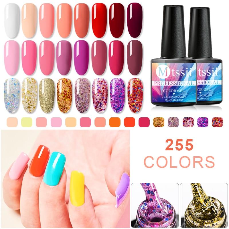 Mtssii 8ml 255 puro esmalte de uñas de Gel de colores manicura uñas de Gel UV barniz remojo DIY arte laca de uñas de manicura Decoración