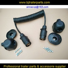 Буксировочный трейлер кудрявый кабель, спиральный кабель, спиральный кабель, 3 м, 7 pin 12V пластиковые трейлер вилки и 2 шт розетки, Трейлер части