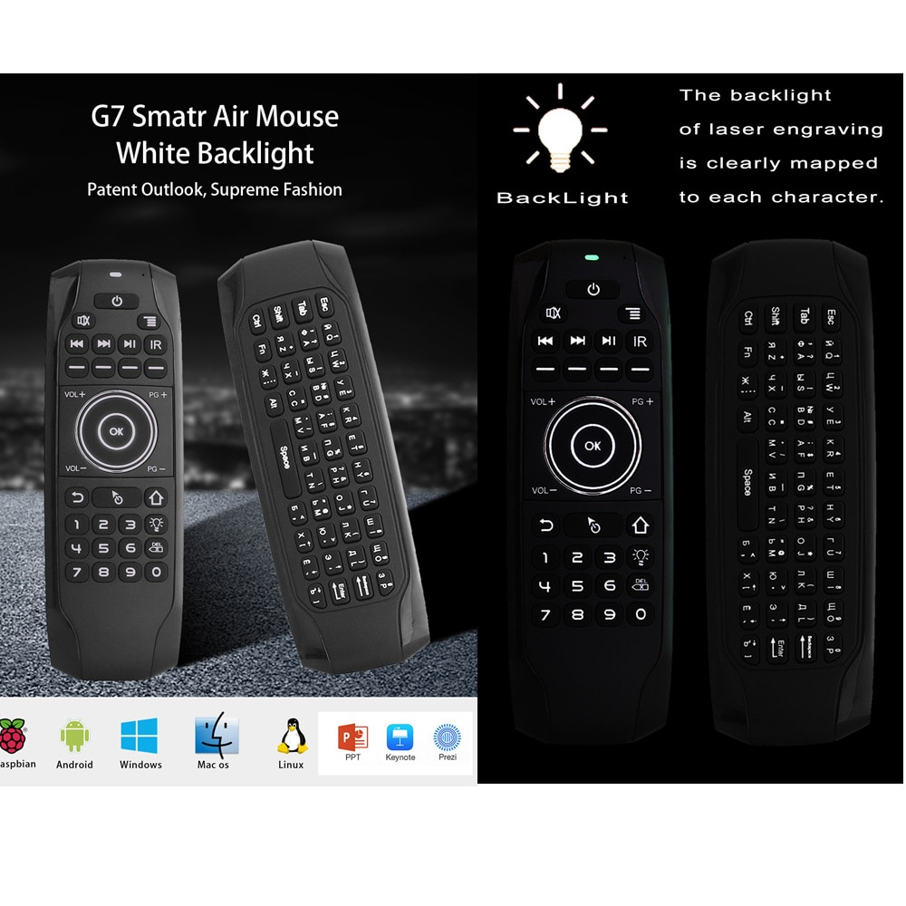L8STAR G7 Russian Backlit Fly Air Mouse with IR Learning Wireless Mini Keyboard Universal 2.4G Remote Control for Android TV BOX  - buy with discount