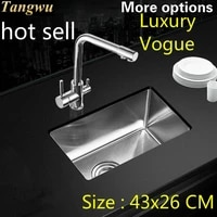 free shipping standard balcony kitchen sink 3 mm food grade 304 stainless steel single slot hot sell 43x26 cm