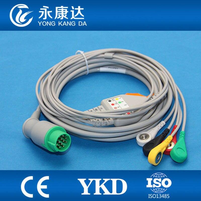 Schiller One-piece 5 leva Paciente ECG Cabo e IEC Leadwires Snap Acessórios Com Frete grátis