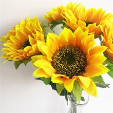 24Pcs  Artificial Sunflower Yellow Sun Flower 60cm Long for Home Wedding Party Decorative Flowers