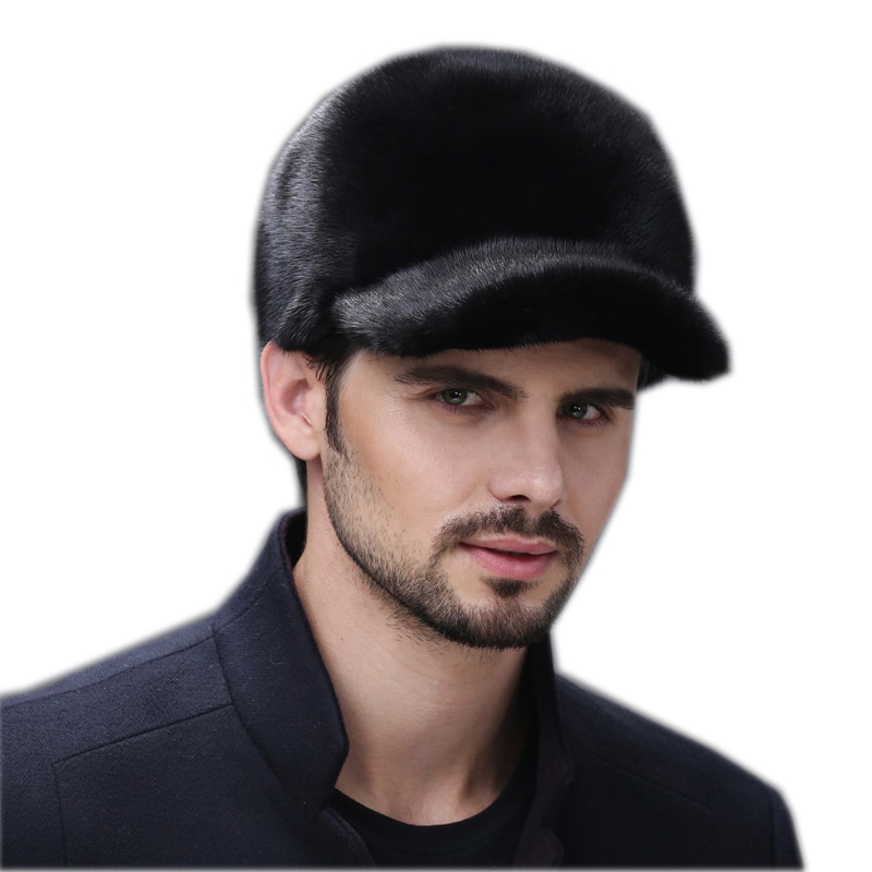 Fur hats for winter men whole real mink fur baseball hat with 2022 New luxury fashion man fur good quality men's winter fur hats