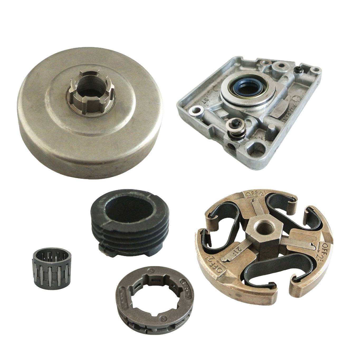 3 8 clutch drum 3/8 7T Tooth Clutch Drum Rim Sprocket & Worm Gear Fit HUSQVARNA 266 268 272 61