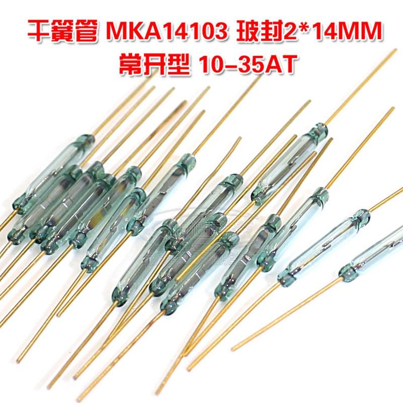 10 pçs/lote MKA14103 interruptor reed normalmente aberto tipo 2*14 MILÍMETROS magneticamente controlado interruptor banhado a ouro pés 10-35AT