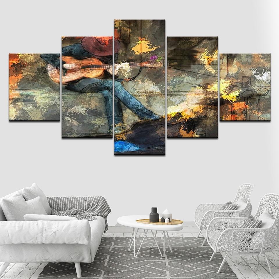 Reproductor de guitarra callejera, cuadro artístico sobre lienzo, fondos de pantalla HD de 5 piezas, Impresión de arte, póster moderno, pintura de Arte modular, decoración del hogar