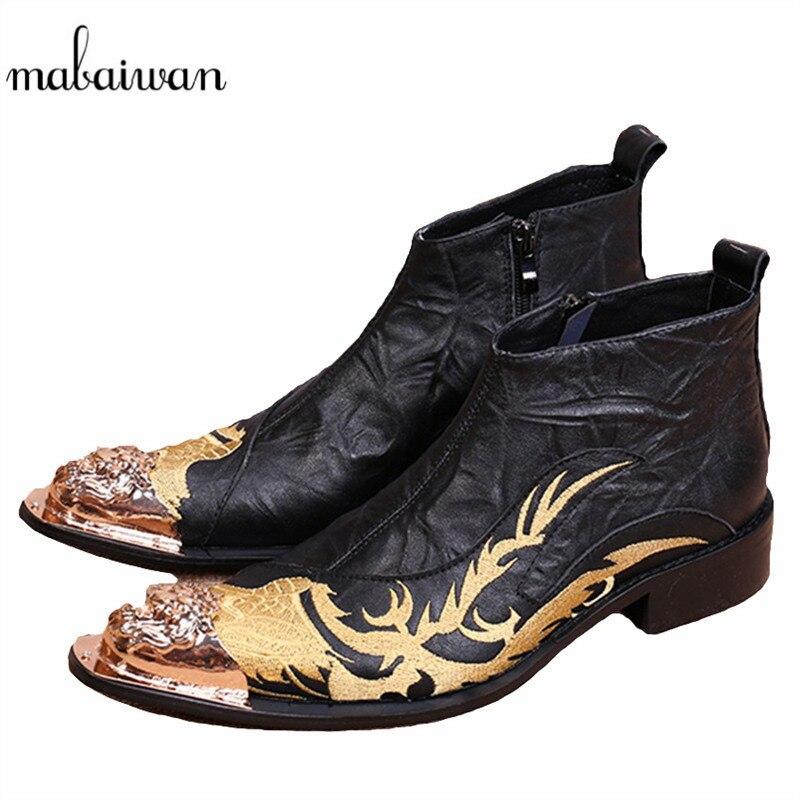 Botines de cuero genuino Mabaiwan Bordado de dragón para hombre, botines de vaquero militares con punta de Metal, zapatos de goma altos