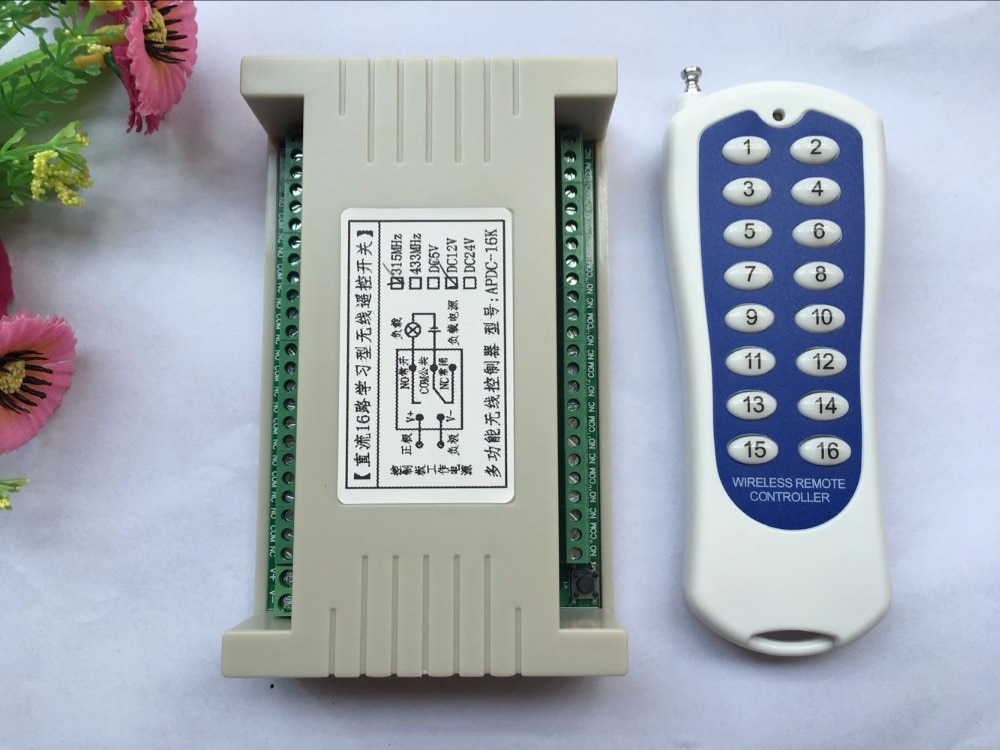 20-1000M de largo alcance DC12V 16CH Radio controlador RF inalámbrico sistema conmutador de control remoto, 315/433 Mhz, 1 * transmisor + 1 * receptor