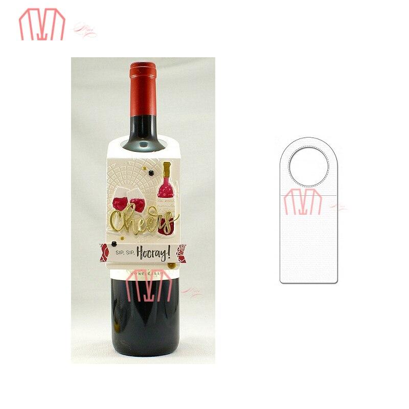 Mai etiqueta para botella de vino Metal troqueles de corte para álbum para recortes de fotos grabado decorativo Tarjeta de papel para manualidades
