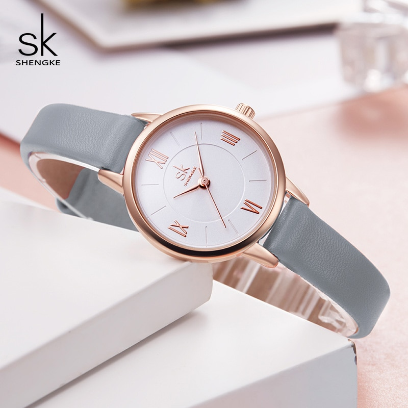 Shengke Watches Women Brand Fashion Leather Wrist Watch Luxury Ladies Quartz Watch Montre Femme 2021 New Bayan Kol Saati #K8060