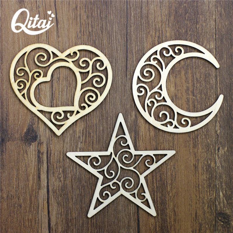QITAI 12PCS/SET wooden Heart.Star.Moon shape family Retro Embellishments Scrapbooking Crafts Handmade card Art Album  WF279