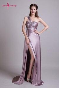 Вечернее платье на одно плечо, без бретелек, стразы, бисер, без рукавов, сатин, со шлейфом