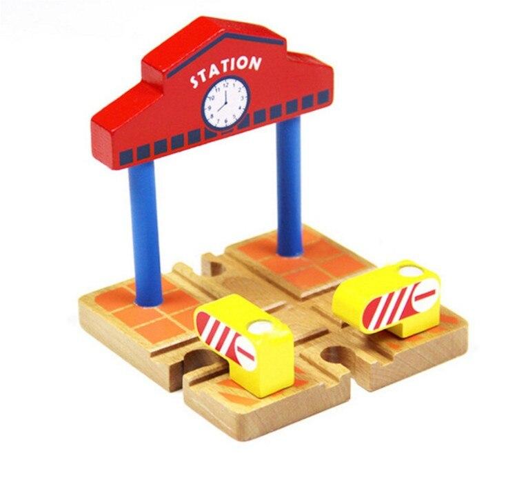 TTC37 Estación de pista de madera juguete tren escena Track accesorios juguete de Brio coche camión locomotora Motor de ferrocarril juguetes para niños