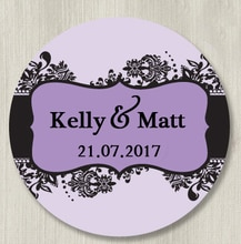 Custom Stickers-Glam Damast Bruiloft lables, klassieke Ronde Sticker, gepersonaliseerde Stickers, etiketten, maat Naam en Datum