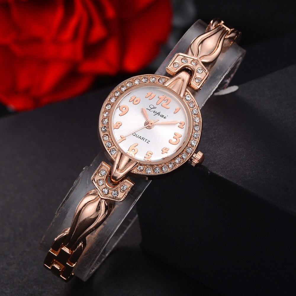 Lvpai Luxuy marca Zegarek damski, pulsera de diamantes de cristal, reloj de pulsera de cuarzo para mujer, esfera única, reloj analógico de acero inoxidable B40